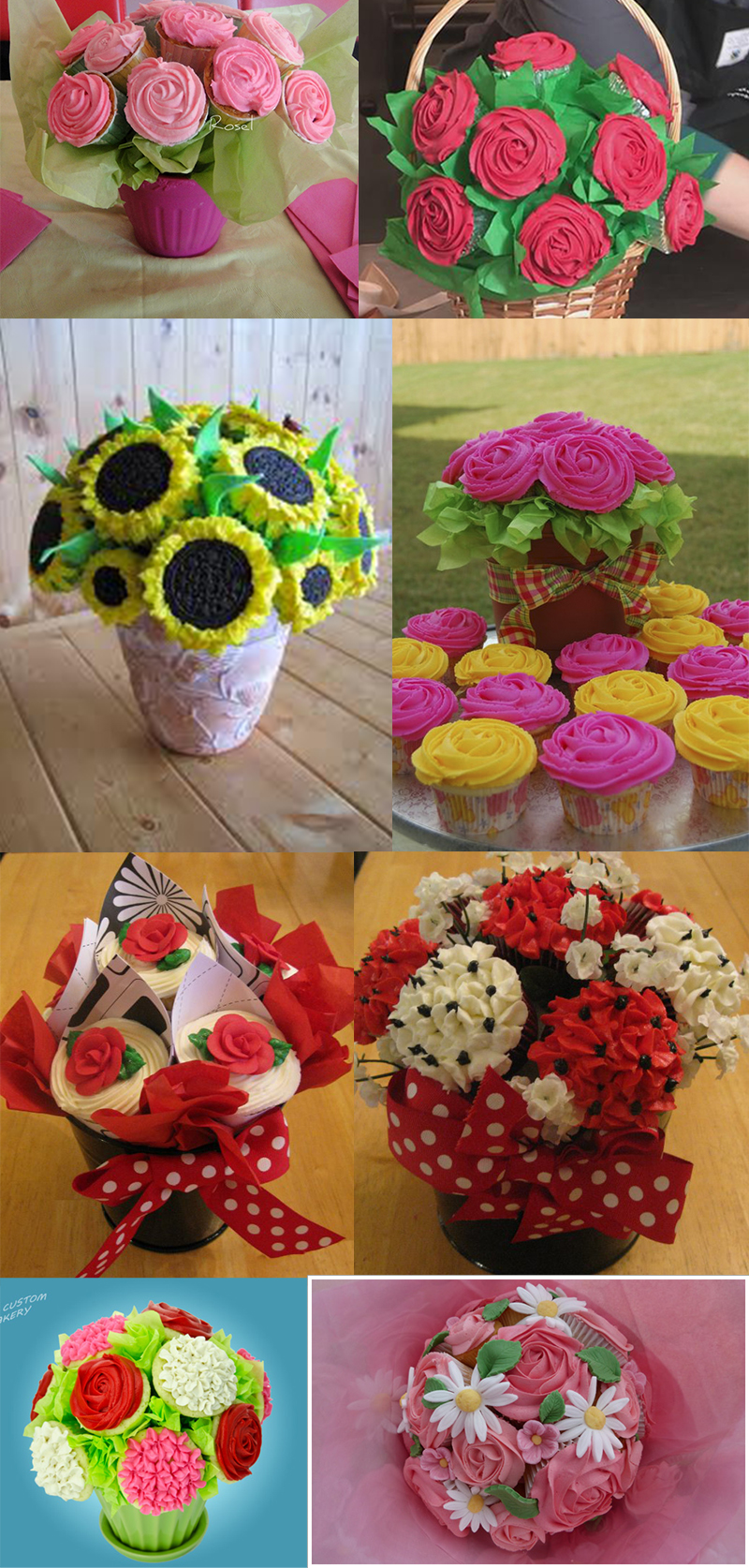 bouquet de cupcake collage